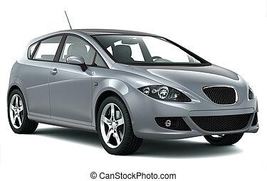 kompakt bil, silver