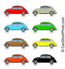 kompakt, bilar, sätta, färgrik