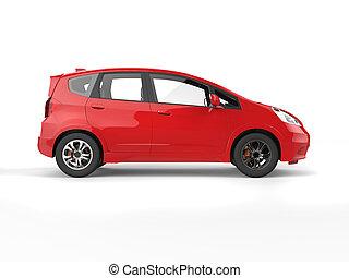 kompakt, elektrisk bil, nymodig, -, sida, röd, synhåll