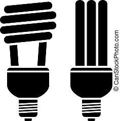 kompakt, fluorescerande, vektor, glödlampor