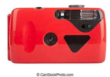 kompakt, kamera, röd,  film