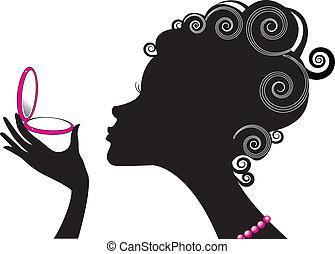 kompakt, kvinna, .make, driva, cosmetic., uppe, stående