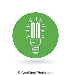 kompakt, lightbulb, cfl, illustration., lys, tegn., symbol., vektor, fluorescerende, pære, icon.