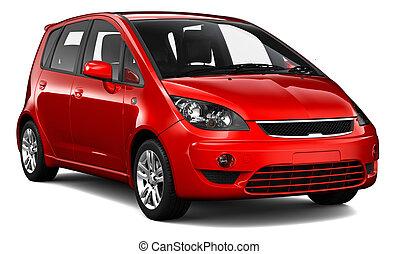 kompakt, röd bil