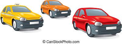 kompakt, stad, bilar, taxi