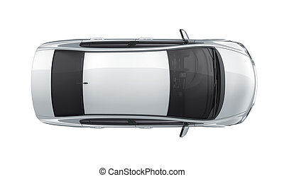 Auto, draufsicht, weißes. Auto, oberseite, freigestellt ...