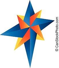 kompas, abstrakt, logo, vektor, rose