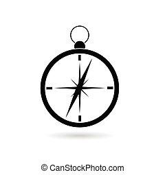 kompas, black , vector, silhouette