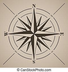 kompas, illustration., vector, rose.