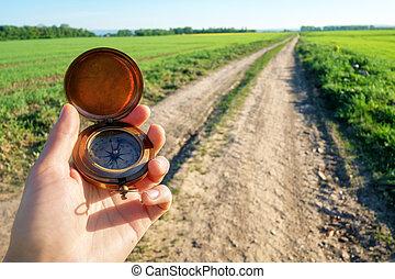 kompas, man, hand