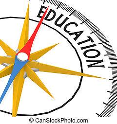kompas, met, opleiding, woord