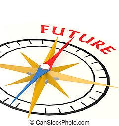 kompas, met, toekomst, woord