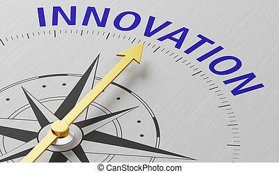 kompas naald, woord, wijzende, innovatie