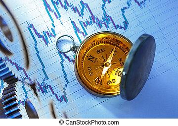 kompas, op, aandelenmarkt gegevens, tabel