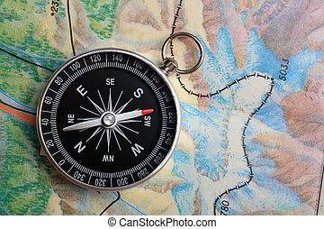 kompas, op, aardrijkskunde, kaart