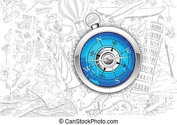 kompas, op, reizen, achtergrond