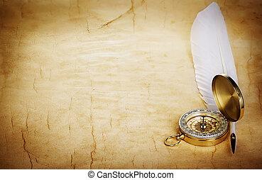kompas, pen, papier, oud, slagpen