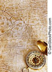 kompass, på, årgång, gammal, papper, bakgrund