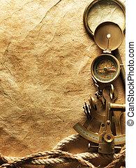 kompass, på, årgång, papper