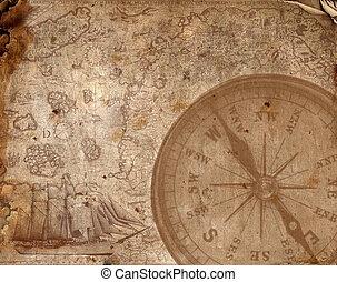 kompass, på, den, gammal, papper