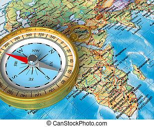 kompass, på, den, karta