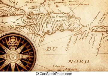 kompass, på, gammal, karta