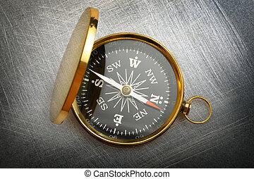 kompass, på, stål, scratchy, bakgrund