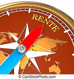Kompass Rente - Goldener Kompass mit dem Pfeil welcher...