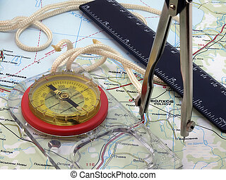 kompass, und, werkzeuge