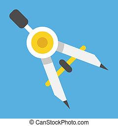 kompass, vektor, teckning, ikon