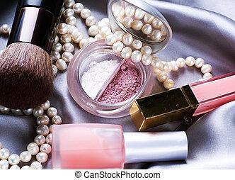 kompensować, tło., makijaż, przybory