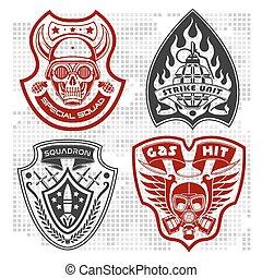 komplet, łaty, armia, -, 4, wojskowy, symbole