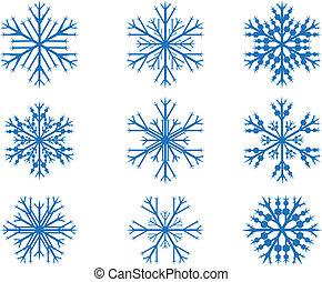 komplet, łuski, śnieg