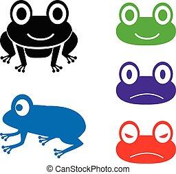 komplet, żaba, wektor, styl, rysunek, ikona