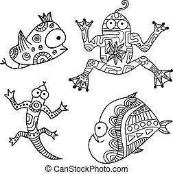 komplet, 3, potwory, hand-drawn, etniczny, kontur, stworzenie