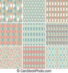 komplet, abstrakcyjny, pattern., seamless, retro, 9, geometryczny, texture.