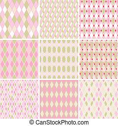 komplet, abstrakcyjny, pattern., seamless, retro, 9, ...