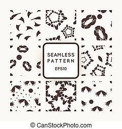 komplet, abstrakcyjny, seamless, wzory, wektor, dziewięć