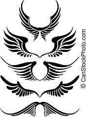 komplet, abstrakcyjny, wektor, skrzydło