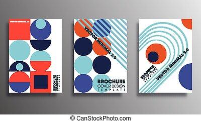 komplet, afisz, lotnik, tła, typografia, albo, modeluje, osłona, druk, projektować, retro, broszura, wyroby, geometryczny, inny