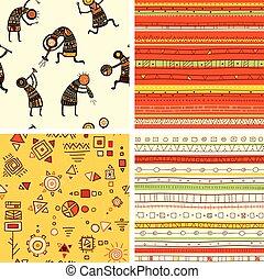 komplet, afrykanin, tła, seamless, cztery, wzory, etniczny