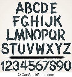 komplet, alfabet, uderzenie, wektor, szczotka, font.