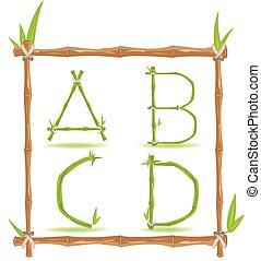 komplet, alfabet, wektor, zielony, litera, bambus