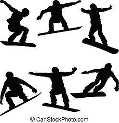 komplet, atleci, snowboarders