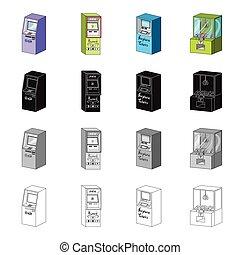 komplet, atm, styl, monochromia, szczelina, isometric, ikony, wpłata, terminal, czarnoskóry, pień, machine., symbol, web., różny, zbiór, bilety, ilustracja, rysunek, typy, szkic, powietrze, wektor, online