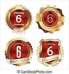 komplet, badges.eps, złoty, 6, rocznica, czerwony