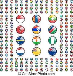 komplet, bandery, od, świat, monarcha, states., wektor,...