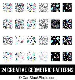 komplet, barwny, abstrakcyjny, patterns., twórczy, geometryczny, memphis, style.