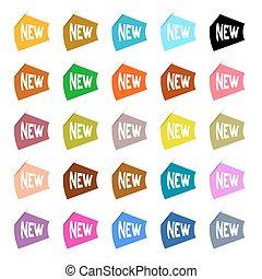 komplet, barwny, etykiety, papier, wektor, nowy