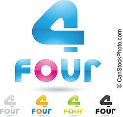 komplet, barwny, ikony, abstrakcyjny, liczba 1, 4